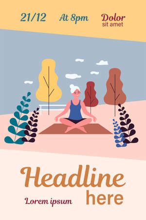 Happy senior woman practicing yoga outdoors Illusztráció