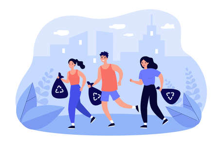 Group of happy people picking up litter while jogging Illusztráció