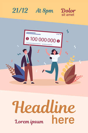 Happy winners holding bank check flat vector illustration.