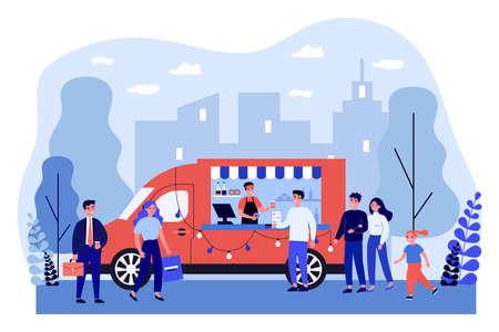 People buying takeaway coffee in truck