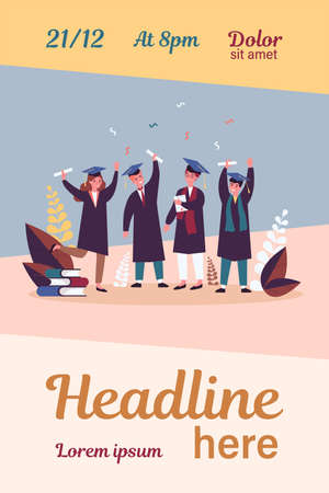 Happy graduated students flat vector illustration Illusztráció