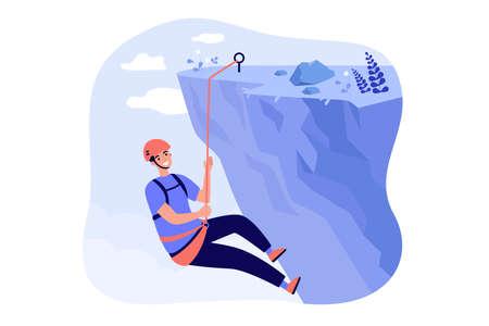 Happy mountaineer climbing rocky mountain Illusztráció