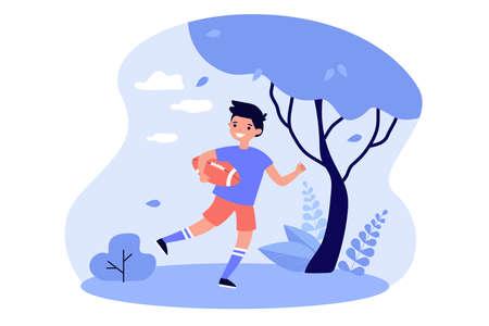 Happy kid playing rugby outdoors Illusztráció