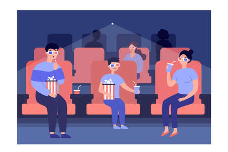 Family watching movie with 3d glasses in cinema