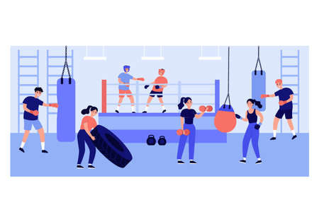 Active people exercising in fight club