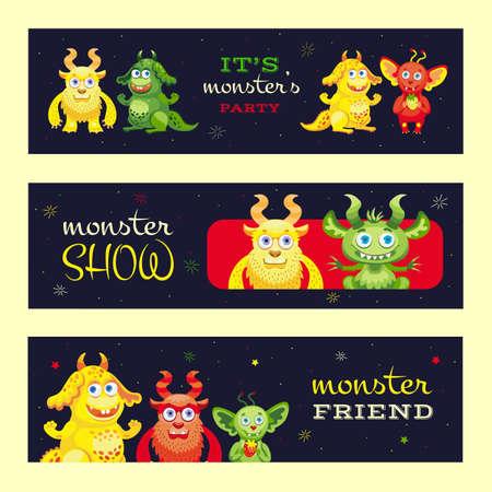 Monster show banners design for event Illusztráció