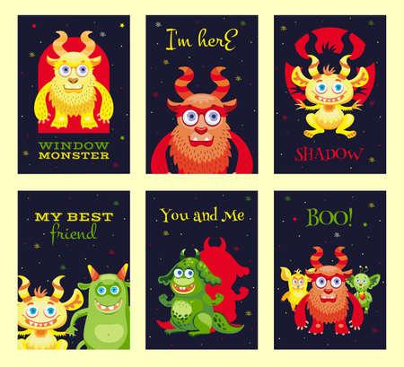 Modern greeting card designs with furry monsters. Illusztráció