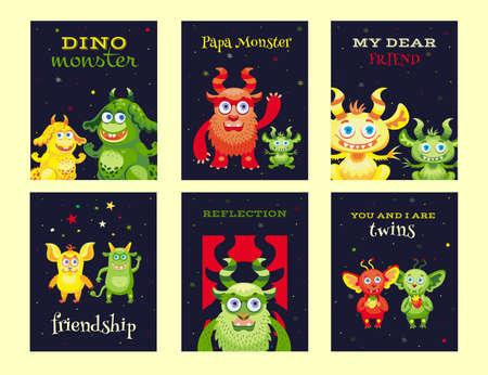 Creative leaflet designs with friendly monsters Illusztráció