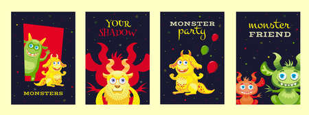 Colorful Halloween posters design with cute monsters Illusztráció