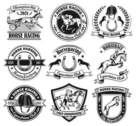 Vintage badges for equine club vector illustration set