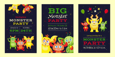 Monster party invitation designs with funny beasts and mascots