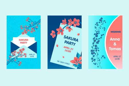 Sakura party or wedding invitation designs with flowers Illusztráció