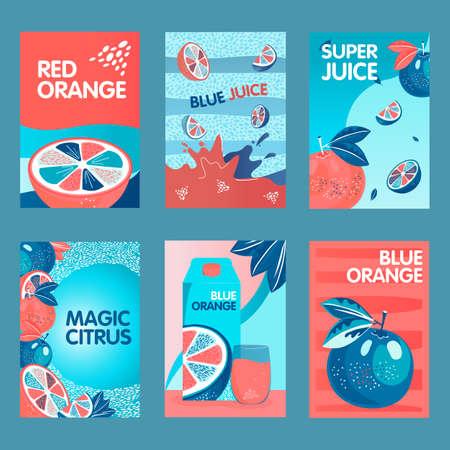 Red and blue orange posters set Illusztráció