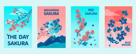 Colorful posters design with sakura flowers