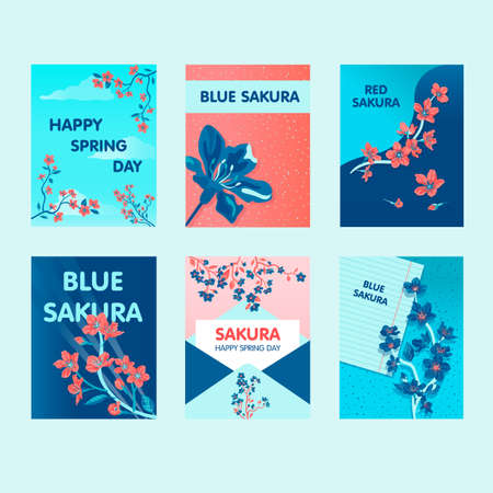 Sakura greeting card designs with best wishes