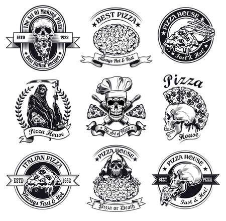 Monochrome pizza house emblems vector illustration set Illusztráció