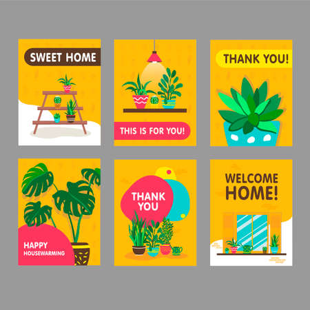 Greeting cards with home plants set