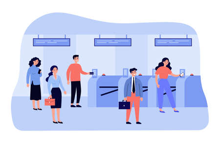 People going through turnstile entrance isolated flat vector illustration. Cartoon passengers standing queue with train tickets near automatic gate in metro. Public transport and subway pass concept