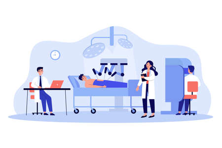 Surgeons watching robot doing surgical operation flat vector illustration. Cartoon patient lying on bed under anesthetic. Robotic surgery and future technology concept
