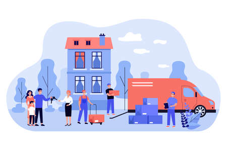 Happy family moving into new house flat vector illustration. Cartoon men unloading things and furniture in boxes from truck. Relocation and resettlement concept