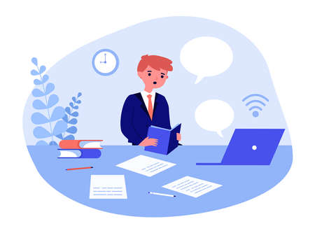 Student boy studying online. Pupil, book, computer, speech bubble flat vector illustration. Distant learning, home schooling concept for banner, website design or landing web page