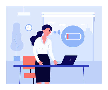 Sad office worker and laptop with low battery. Unhappy woman with low energy level flat vector illustration. Burnout, fatigue, technical problem concept for banner, website design or landing web page