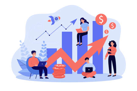 Startup team with laptops analyzing growth chart. Tiny sales managers using computers at increase diagrams and rocket. Vector illustration for successful business project, finance, analysis concept Vetores