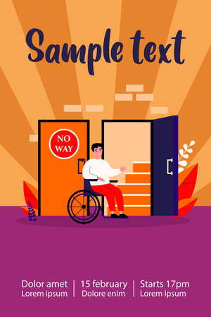 Handicapped man in wheelchair looking at staircase. Help, restriction, inability flat vector illustration. Social problem and assistance concept for banner, website design or landing web page