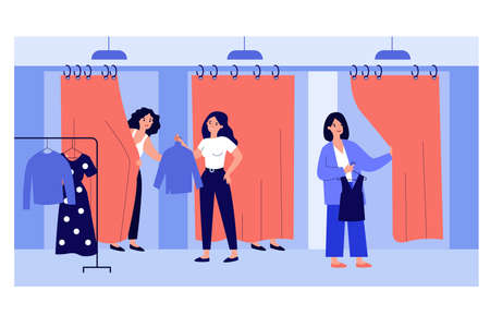 Sales assistant helping customers in fitting room. Girls trying on new clothes in fashion store. Vector illustration for shopping, boutique, fashion concept