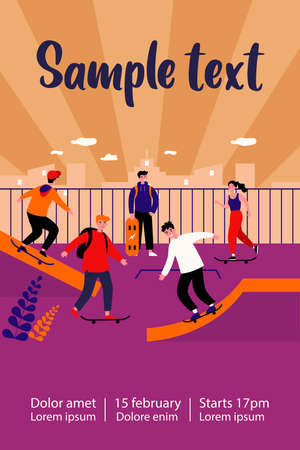 Teenage girls and guys enjoying skateboard activities. Young skateboarders practicing jumps in extreme skating park. Flat vector illustration for skatepark, active lifestyle, leisure, sport concept