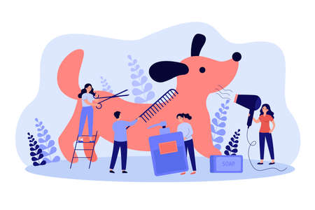 Team of tiny pet barbers grooming dog in salon, cutting, brushing and drying wool. Vector illustration for groomer job, animal care, shedding concept Иллюстрация