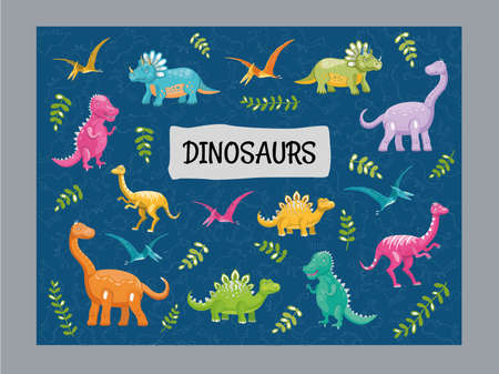 Blue background design with variety of cute dinos. Funny dinosaur characters smiling and standing. Creatures and fossil reptiles concept. Template for promotional or invitation web page