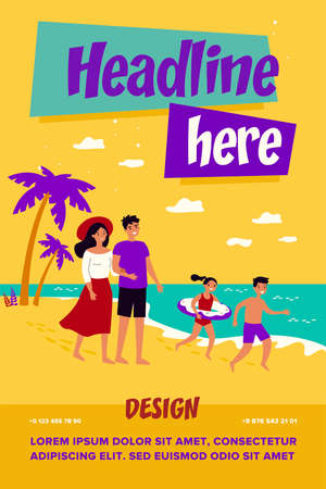 Happy parents couple and kids spending summer vacation by seaside. Family with children in swimsuits walking on sea beach. For travel, leisure time, outdoor activity, holiday concept