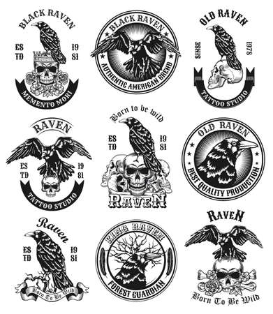 Black ravens emblems set. Monochrome design elements with human skulls, bones and crows with text. Horror or death concept for labels, stamps, tattoo studio signs templates
