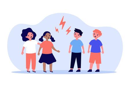 Little boys and girls quarrelling angrily. Kid, child, lightning flat vector illustration. Relationship and disagreement concept for banner, website design or landing web page Illustration