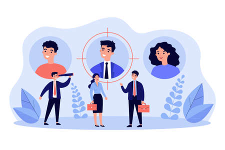 Job candidates or employees with their profiles or personal data. Business people and their user pic. Vector illustration for target audience, sourcing, talent scouting concepts