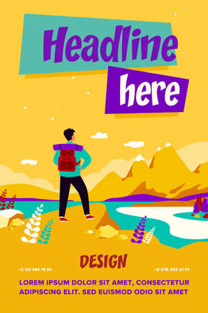 Adventure travel concept. Tourist exploring mountains. Man with backpack standing at cliff and admiring landscape. Vector illustration for hiking, trekking, nature, discovery, tourism topics Ilustración de vector