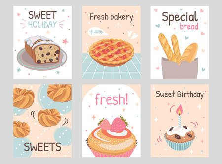 Bakery flyers set. Pie, loaves, buns, birthday cupcake, muffin vector illustrations with text. Holiday and dessert concept for posters and brochures design