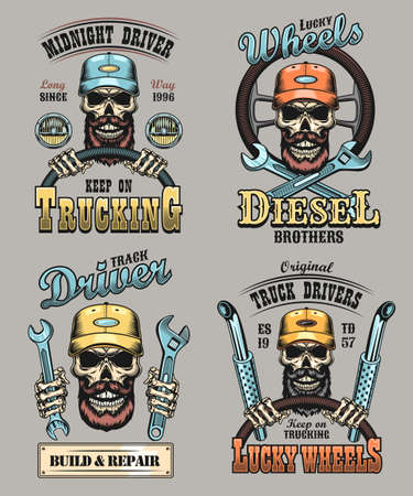 Lorry driver emblems set. Bearded skulls in caps holding steering wheel or spanners with keep on trucking or diesel brother text. Vector illustrations for shipping, trucker community concepts