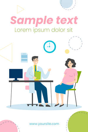 Pregnant woman consulting doctor in his office. Gynecologist talking to expecting patient. Vector illustration for prenatal care, examination, medical checkup concept