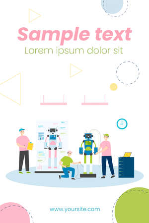 Scientists and engineers creating and constructing humanoid robots. People developing hardware for human machines. Vector illustration for robotic science, technology, invention concept