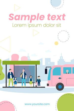 Children waiting for school bus. Kids standing at bus station flat vector illustration. Transport, transportation, urban service concept for banner, website design or landing web page Ilustrace