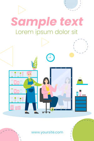 Young people sitting in beauty salon isolated flat vector illustration. Cartoon happy beauticians, stylists and hairdressers cutting hairs for women. Fashion and style concept