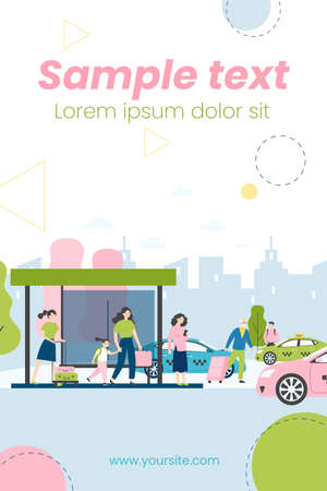 Tourists with luggage waiting for taxi. Passengers with baggage, arrival, cabs flat vector illustration. Transport, transportation, travel concept for banner, website design or landing web page