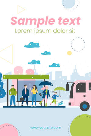 People waiting for bus at bus stop in rainy day. City, vehicle, road, rain flat vector illustration. Public transport and weather concept for banner, website design or landing web page