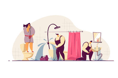 Plumbers fixing leaky pipes in customers bathroom. Frightened woman talking to mobile phone. Vector illustration for plumbing, emergency, house flooding concept