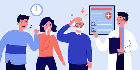 People with disease symptoms visiting doctor. Queue of patient, clinic, practitioner office. Flat vector illustration. Epidemic, virus concept for banner, website design or landing web page