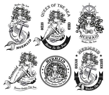 Monochrome beautiful mermaid for tattoo vector illustration set. Retro emblems with long-haired water nymph on rock or anchor. Sea and sailing concept can be used for retro template  イラスト・ベクター素材