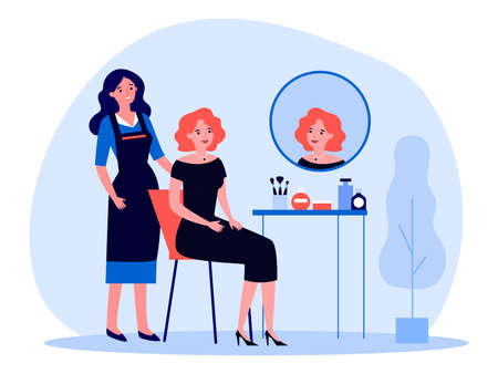 Woman visiting makeup artist. Celebrity, mirror, party dress. Flat vector illustration. Beauty care, salon, festive event preparation concept for banner, website design or landing web page