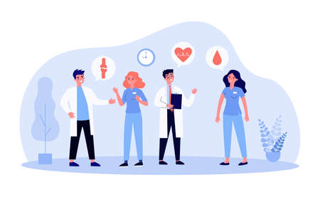 Medical staff discussing disease. Consulting, doctors, nurses, speech bubble. Flat vector illustration. Medicine, cooperation, professional talk concept for banner, website design or landing web page